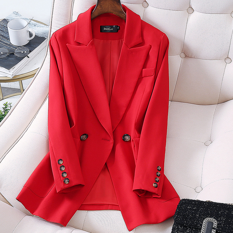 Women Elegant Long Sleeve Double Breasted Blazer Jacket Casual Solid Female Chic Lady Office Suit Blazer Outwear Coat Oversize