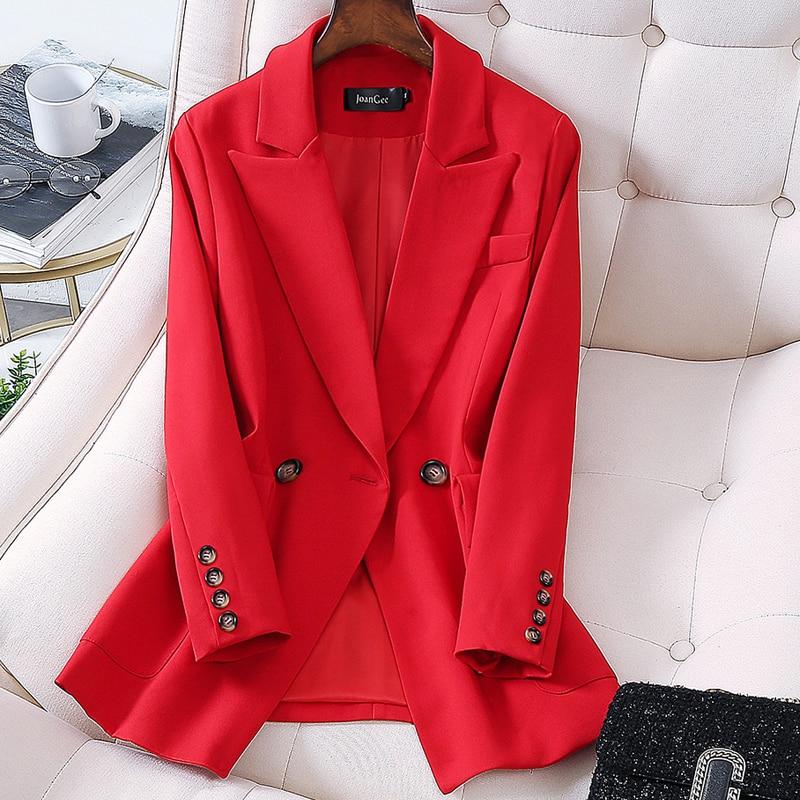 Women Elegant Long Sleeve Double Breasted Blazer Jacket Casual Solid Female Chic Lady Office Suit Blazer Outwear Coat Oversize