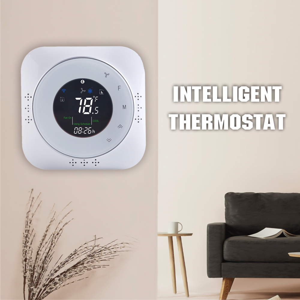 Wifi Thermostat 24VAC Heat Pump Thermostat Fahrenheit Alexa/Google Home Tuya/Smart Life Phone APP Room Temperature Controller