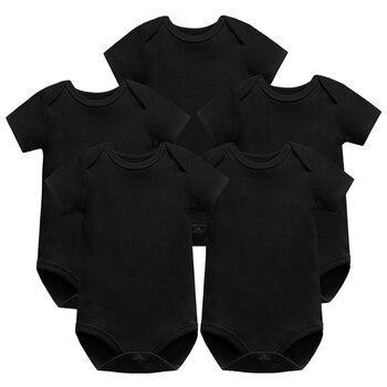 5Pieces/Lot Baby Bodysuit Boy Girl Clothing short sleeve Newborn Body Black 100% Cotton 0-12 months