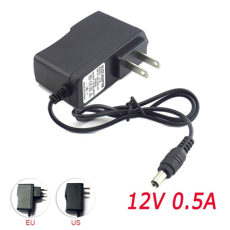 500mA Power Converter supply Adapter AC to DC 12V 0.5A Power Supply US EU Plug Switch 5.5mm x 2.1mm For Strip Light 100-240V
