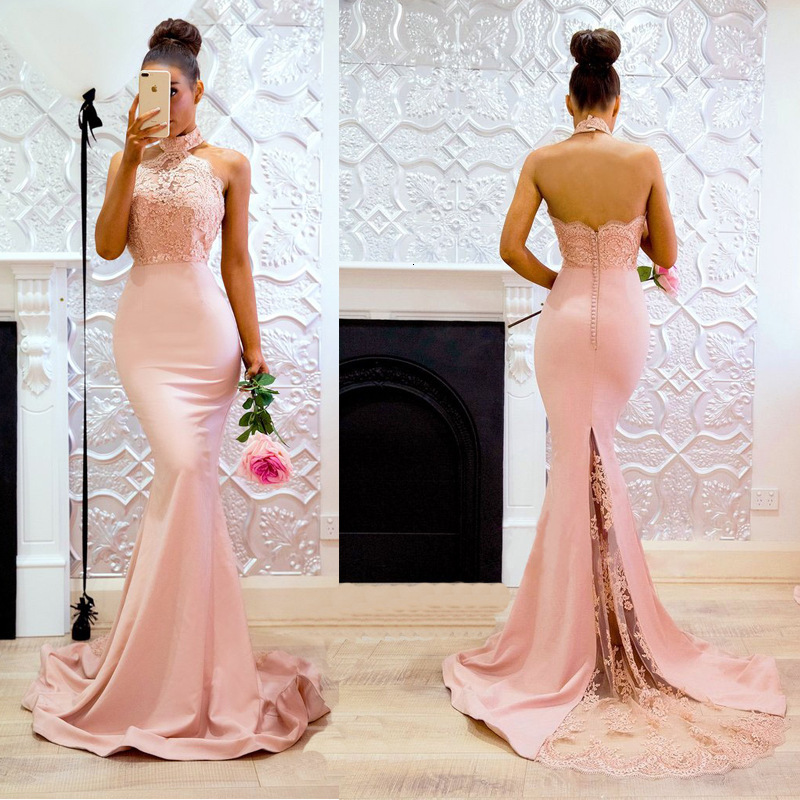 BacklakeGirls 2019 Sexy Sleeveless Halter Stain Evening Dress Elegant Floor Length Light Pink Lace Party Gown Robe Soirée Longue
