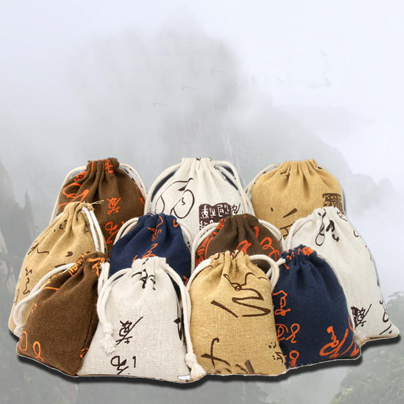 20pcs/lot 8x10cm New Chinese Style Small Cotton Linen Drawstring Bags Calligraphy Printing Pouches Gift Bags