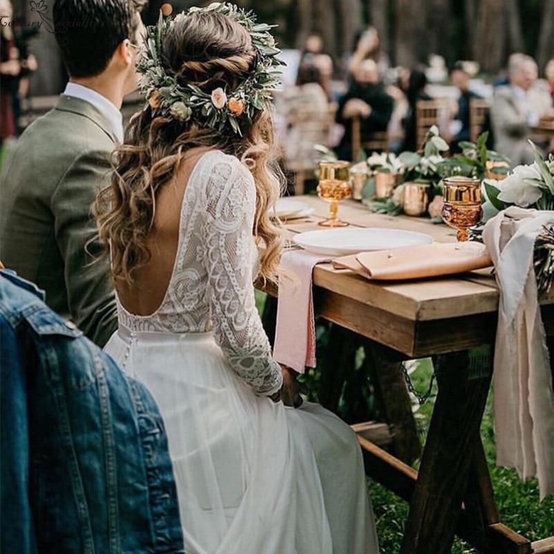 Boho Lace Wedding Dresses 2020 Long Sleeves Backless Chiffon Bohemian Bridal Gowns Bride Dress Vestido De Noiva Robe De Mariee