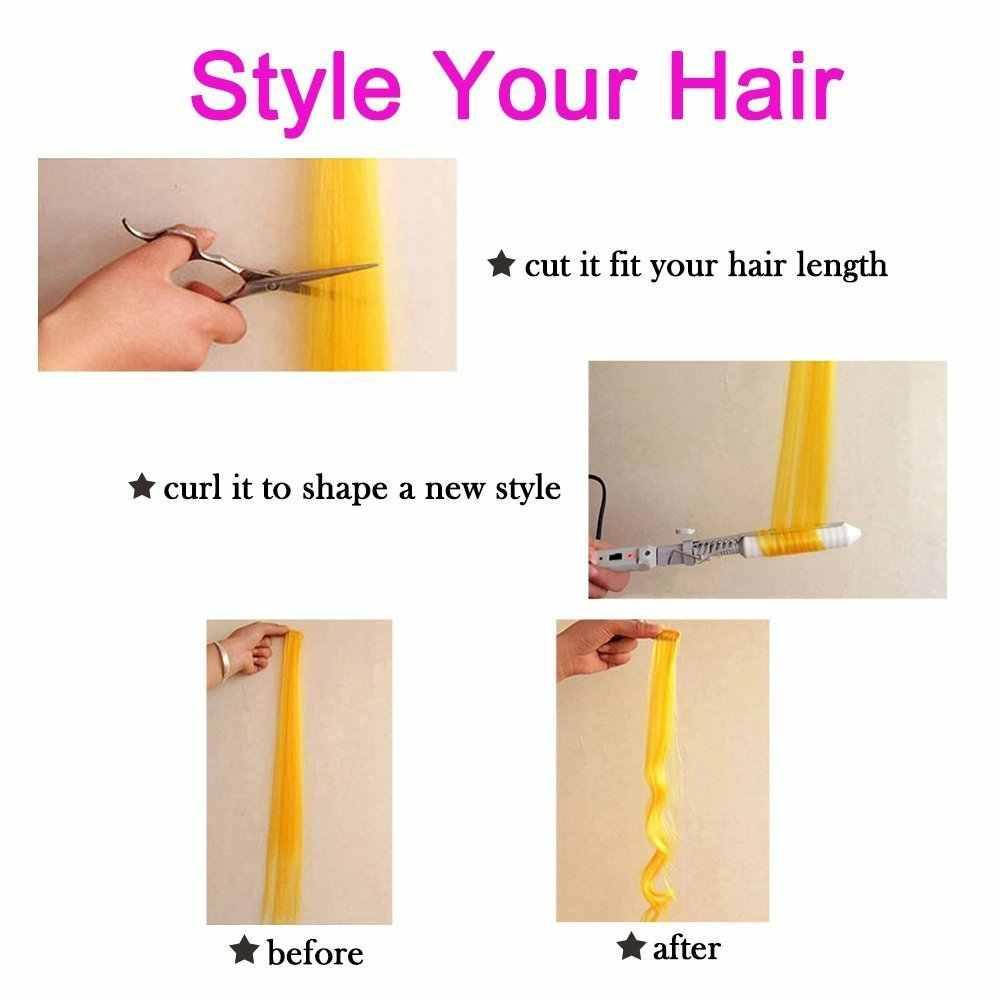 """BUQI renkli vurgulamak sentetik saç uzantıları klip tek parça renkli şeritler 20 """"uzun düz postiş spor hayranları için"""