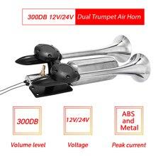 300DB Car Horn Kit Universal Dual Trumpet Air Trumpet Dual Air Horns Super Loud Car Speakers For Truck Van Boat Pickup 12V 24V