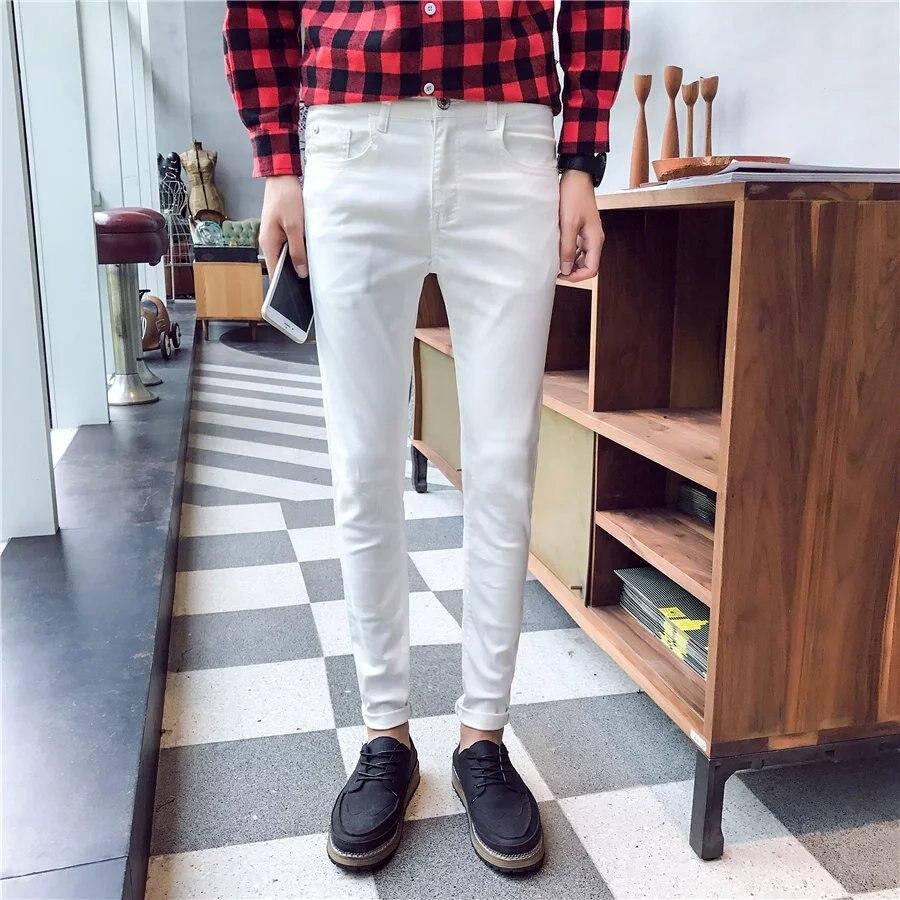 Autumn Spring Teenager White Jeans Korean-style Men Capri Slim Fit Skinny Pants White Fashion Casual Fashion Pants
