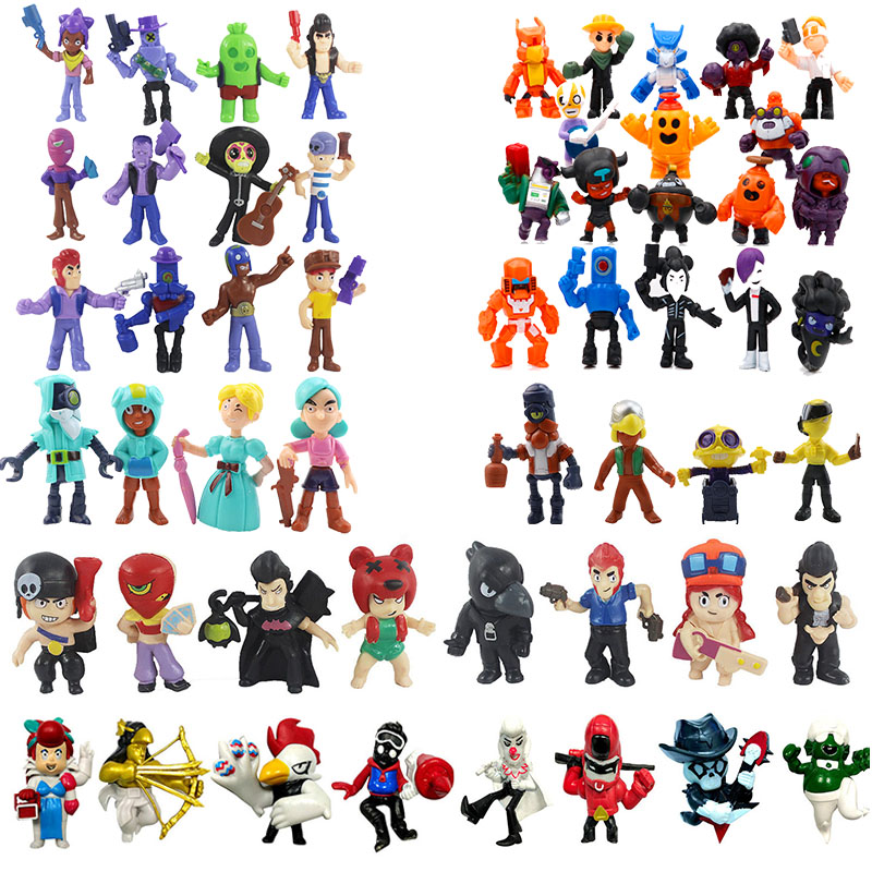 50Pcs/Lot Game Brawl Figure Toys Amine Star Hero Shelly Colt Jessie Collectiable Kids Boys Girls Brinquedo Toy Christmas Gift