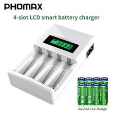 PHOMAX – chargeur de batterie intelligent avec écran LCD à 4 fentes, protection contre les courts circuits, pour piles rechargeables AA/AAA NiCd NiMh