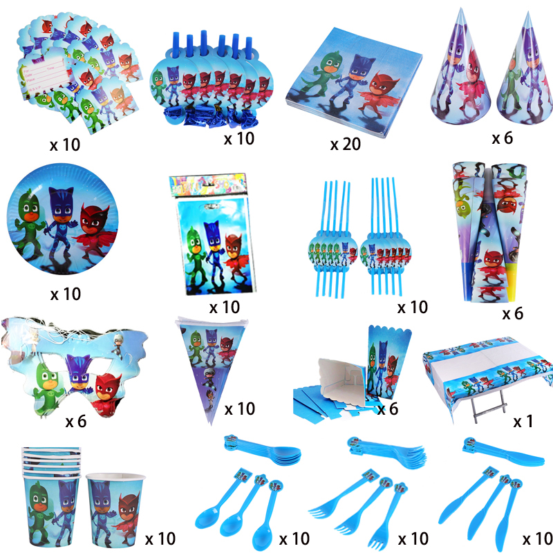16pcs/set Pj Mask Juguete Kids Birthday Party Festive Party Supplies Decorations Catboy Owlette Gekko Disposable Tableware S80