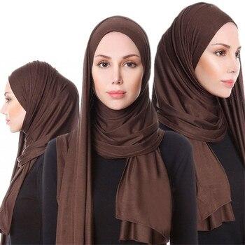 2020 Muslim Hijab Jersey Scarf Soft Solid Shawl Headscarf foulard femme musulman Islam Clothing Arab