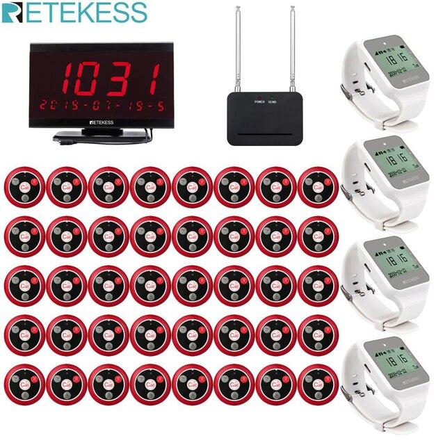 Retekess restoran çağrı cihazı kablosuz garson çağrı 40 adet T117 çağrı düğmesi + 4 adet TD108 izle alıcı + alıcı konak + sinyal tekrarlayıcı