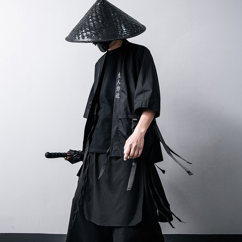 Japanese Traditional Kimono Cardigan Black Cotton Fashion Stage Haori Samurai Cosplay Costumes Chinese Style Coat Streetwear