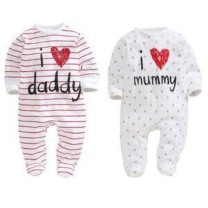 Детский комбинезон с длинными рукавами для новорожденных мальчиков и девочек с надписью «I Love Mommy Daddy»; хлопковый цельнокроеный наряд; повсе...
