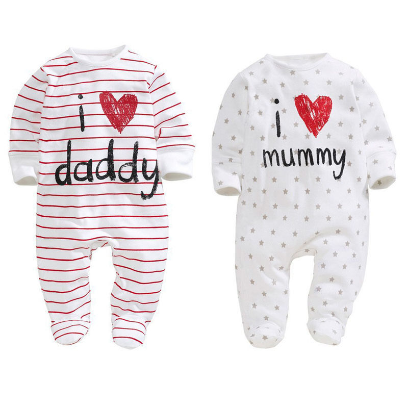 I Love Mummy Daddy Infant Toddler Newborn Baby Boys Girls Romper Long Sleeve Cotton One-piece Outfit Baby Casual Clothes