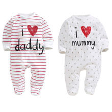 I Love Mummy Daddy Infant Toddler Newborn Baby Boys Girls Romper Long Sleeve Cot