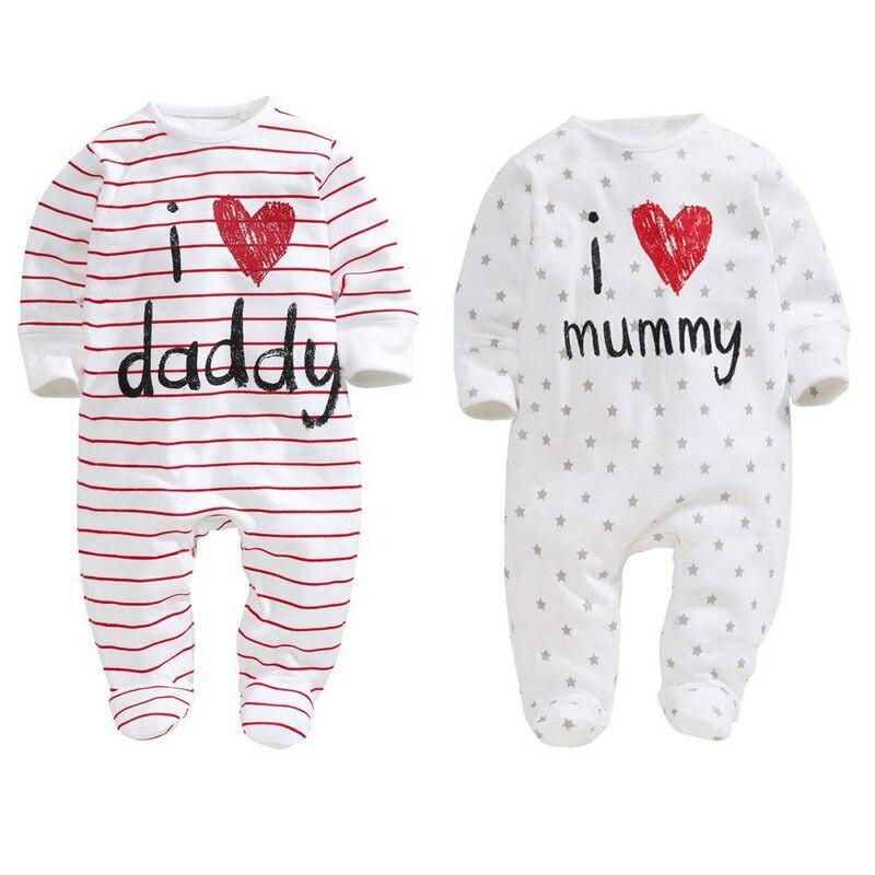 Canis Unisex Baby Boys Girls Long Sleeve I Love Mummy//Daddy Bodysuit