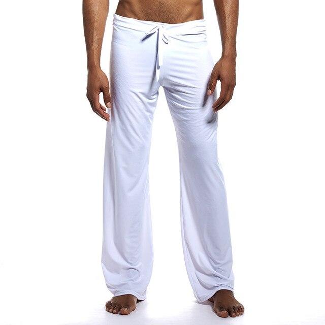 Men Sleep Bottoms Ice Silk Breathable Trousers Lounge Pants Loose Casual Pajamas Sleepwear Pijama Hombre Sportwear Plus Size