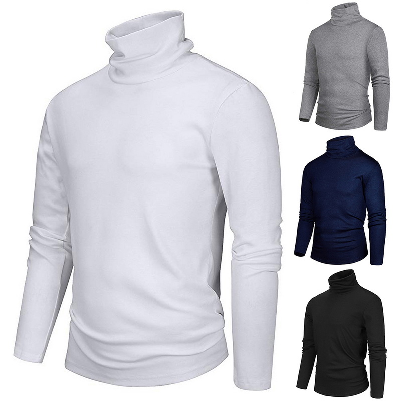 2020 Male Turtleneck Long-sleeve T-shirt Thermal Underwear Autumn Winter Men's Clothing Basic Turtleneck Shirt Slim