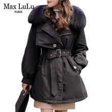 Coat Max-Lulu Parkas Down-Jacket QUILTED Duck Real-Fur-Collar Korean Designer Winter