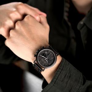 Image 3 - BOBO BIRD ساعة رجالية كرونوغراف ساعة معصم كوارتز فاخرة من الفولاذ المقاوم للصدأ مع تقويم relojes de marca famosa كريستما