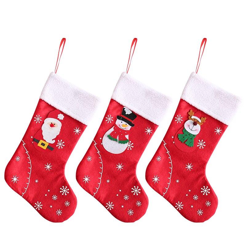 Christmas Stockings Fabric Santa Claus Sock Gift Kids Candy Bag Snowman Deer Pocket Hanging Xmas Tree Ornament New Year 2021