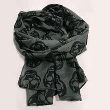 Autumn Female Skull Print Scarf Women Cotton Linen Scarf Sum