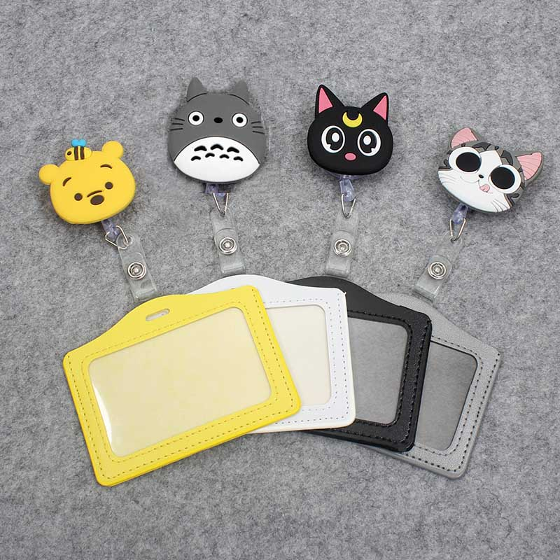 Cartoon Animals Silicone Card Case Holder Bank Credit Card Holders Bus ID Holders Identity Badge With Cartoon Retractable Reel