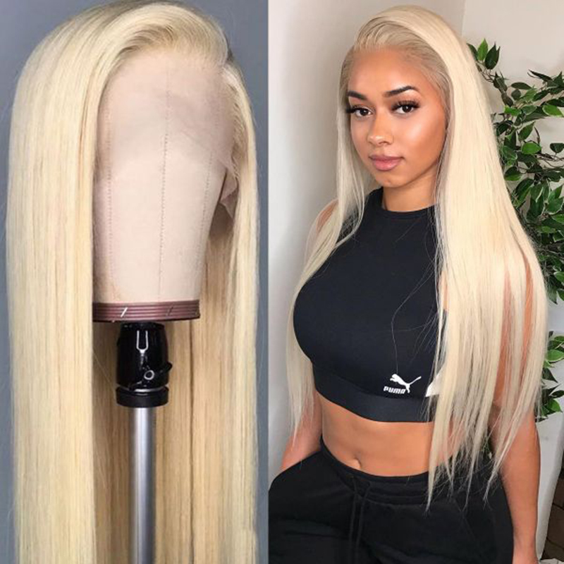 613 Blonde Lace Front Human Hair Wigs For Women Brazilian Straight Pre Plucked Lace Wig 13x4 Human Hair Wigs 150% Density SOKU