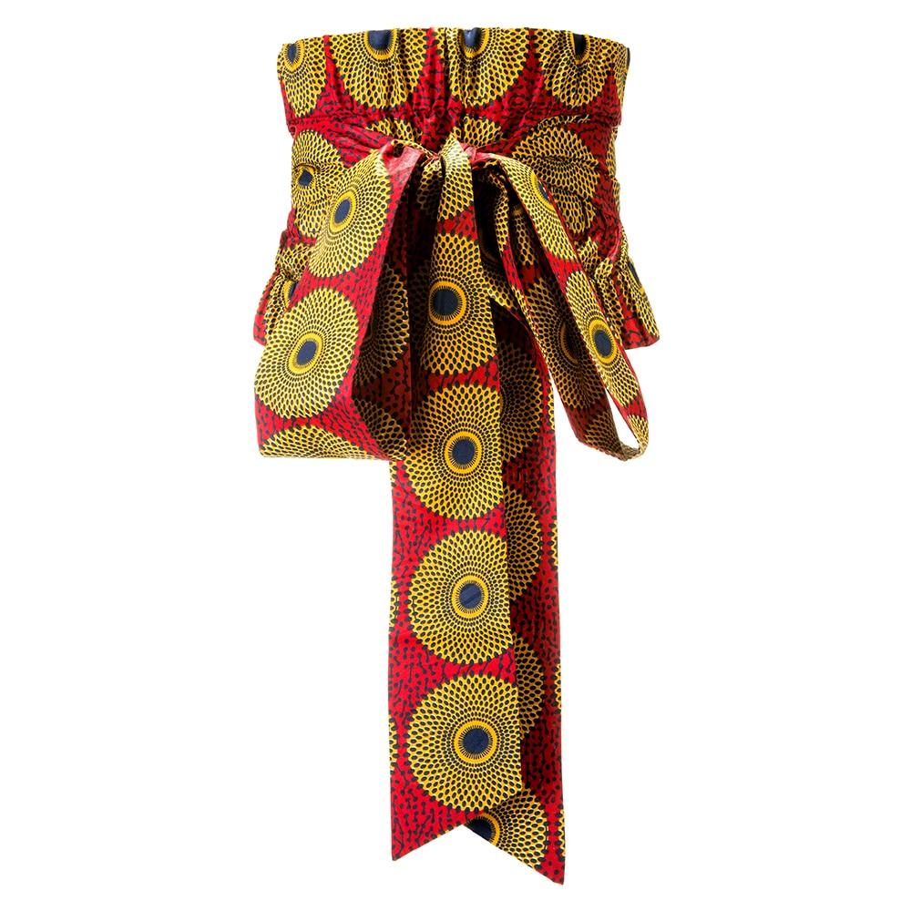 African Print Ankara Waist Wide Corset Belt Button Skirts For Women Gift Handmade Dress With Belt Bow Ladies Cummerbund Belts