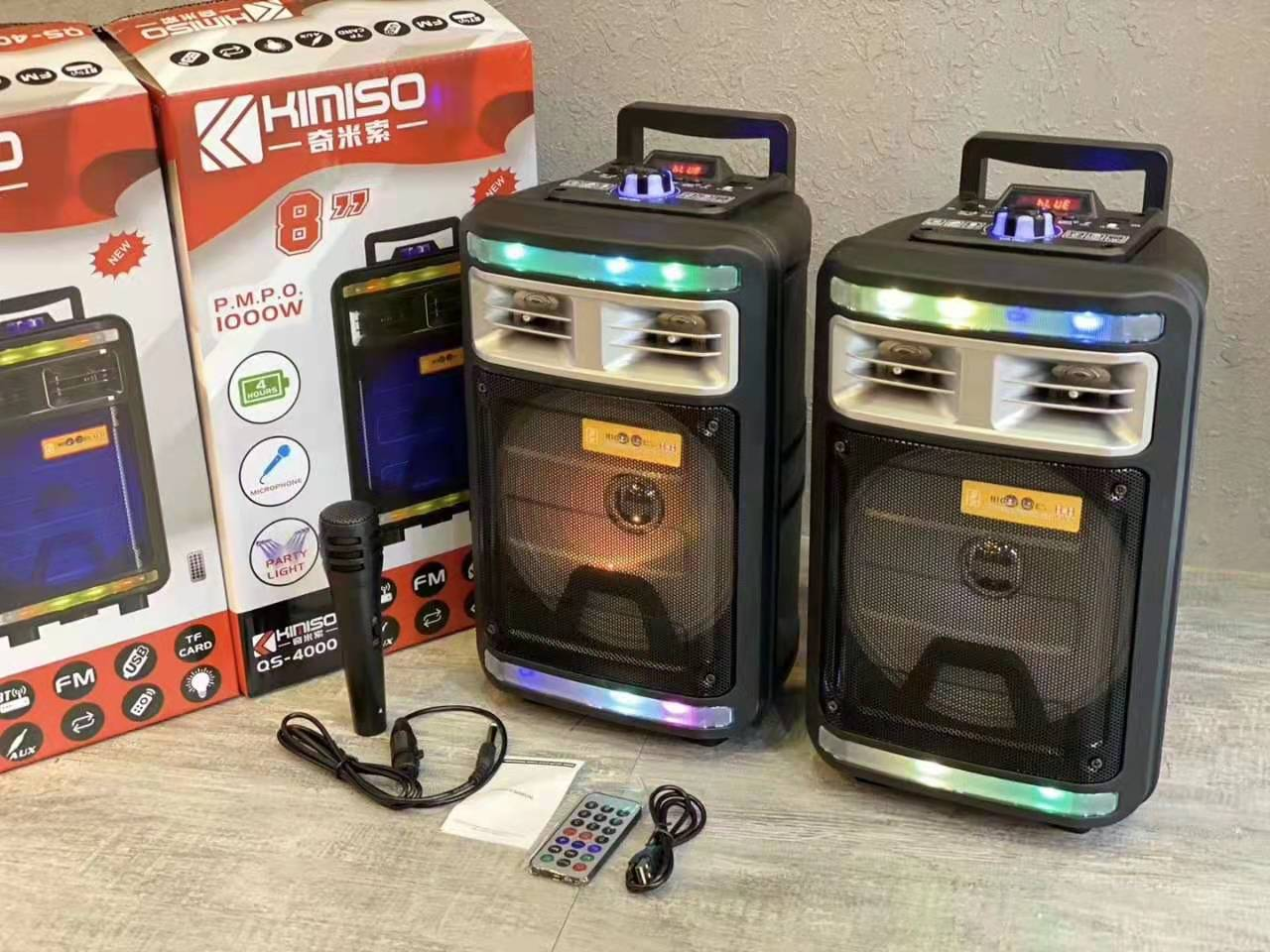 8 Inch Big Bluetooth Speaker High-power Bluetooth Column Subwoofer LED lights with microphone karaoke Fm TF Remote Control Box