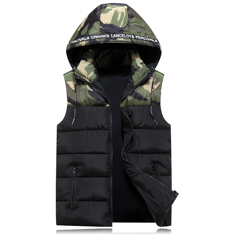 Winter Cotton Vest For Men Camouflage 2019 Autumn Casual Male Classic Warm Thick Hooded Sleeveless Jacket College Waistcoat Kids