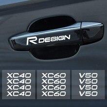 Autocollants réfléchissants pour poignée de porte de voiture, 4 pièces, pour Volvo Rdesign T6 AWD V40 V50 V60 V70 V90 S40 S60 S90 XC40 XC 60 XC90