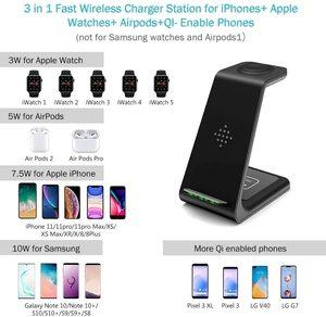 Image 2 - Быстрая Беспроводная зарядная подставка 3 в 1 держатели для iPhone 12 11 Pro Airpods Pro Watch 3 в 1 Беспроводное зарядное устройство Qi Индукционная подставка