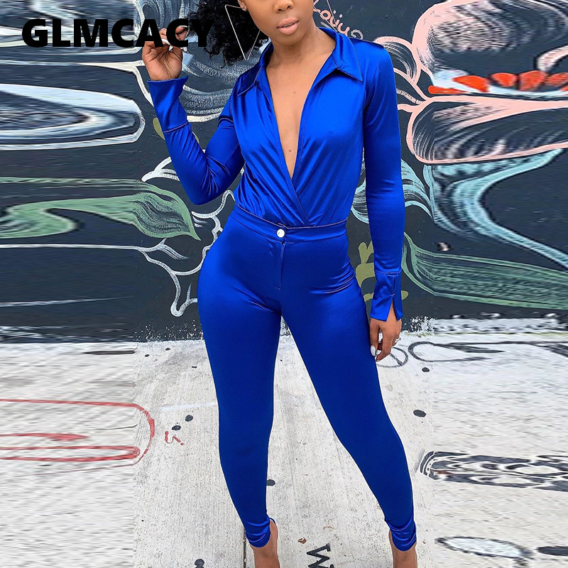 Women Two Piece Sets Plus Size Turn Down Collar Top & High Waist Bodycon Skinny Pant Sets Solid Stain Tracksuit