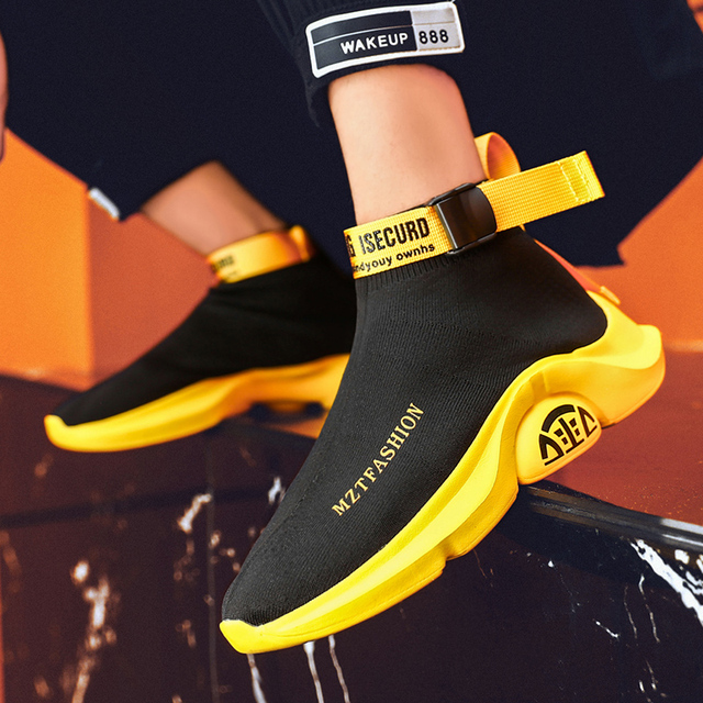 Moda yüksek Top rahat çorap ayakkabı erkekler nefes Flats erkekler Casual Slip On Platform ayakkabılar erkekler yürüyüş ayakkabı sepet homme