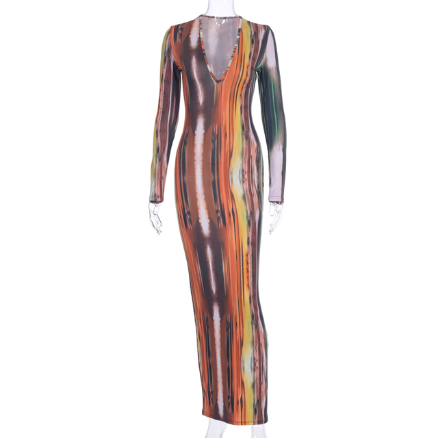Hugcitar 2020 long sleeve colorful print V-neck bodycon long dress spring women new fashion streetwear party elegant outfits 6