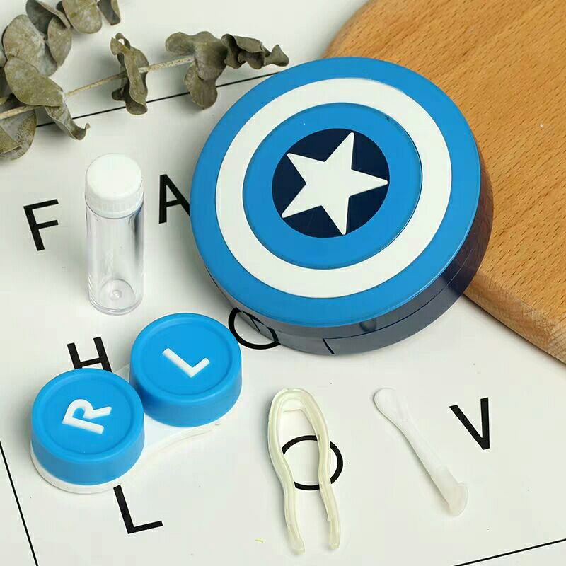 Hot Captain America Contact Lens Case With Mirror Contact Lenses Box Container For Lenses Birthday Gift For Girls and Boys 2