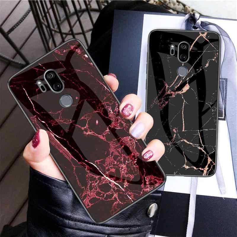 Per LG G7 ThinQ Caso di Vetro Posteriore Del Telefono Duro Della Copertura di Caso Per Funda LG G7 LG G7 Caso G710 Morbido TPU Del Respingente Temperato per LG G 7 6.1''