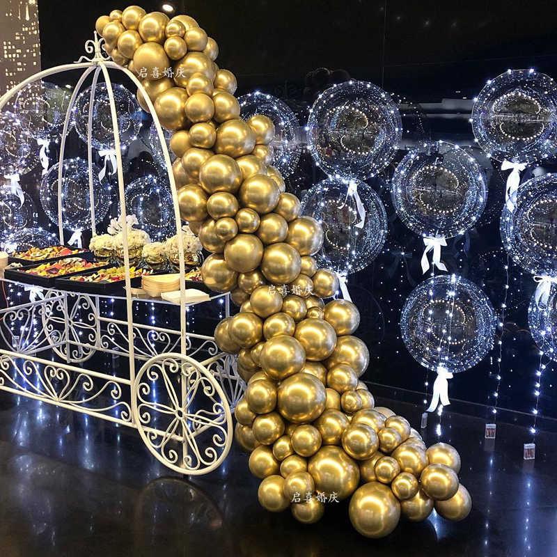 100 Uds 50 Uds 10 pulgadas perla cromo Metal globo dorado arco artículos para fiesta de boda decoración Globos