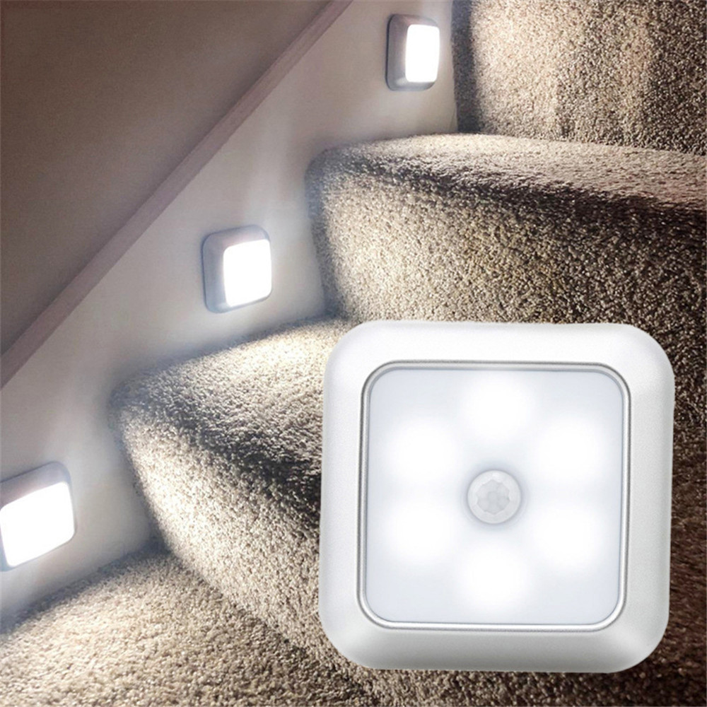 Battery Powered 6 LED Square Motion Sensor Night Lights PIR Induction Under Cabinet Light Closet Lamp  For Stairs Kitchen Bedroo