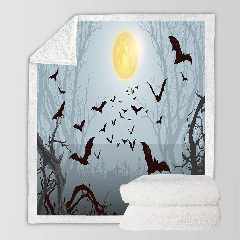 Halloween Fleece Blanket Cartoon Pumpkin Sherpa Blanket Bat Print Coral Blanket on Sofa Bed Kid Halloween Gift Home Warm Blanket