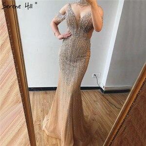 Image 2 - שלווה היל דובאי שמפניה V צוואר פניני יהלומי שמלת ערב 2020 האחרון עיצוב שרוולים בת ים סקסי המפלגה שמלת CLA70055