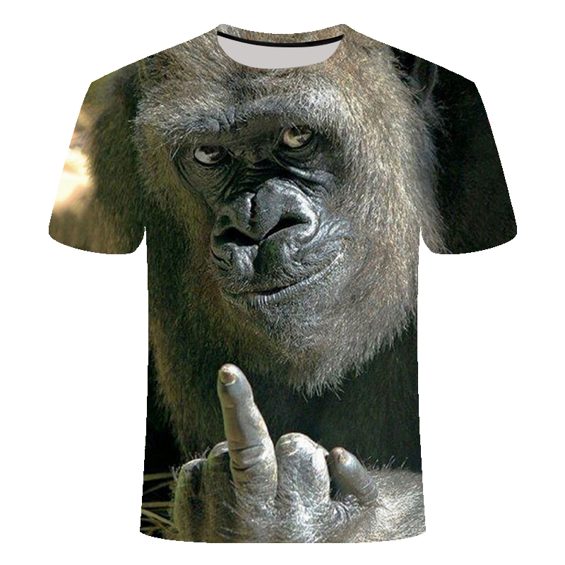 New Men's T-Shirts 3D Printed Animal Monkey Tshirt Short Sleeve Funny Design Casual Tops Tees Male Halloween T Shirt Shirt 6XL