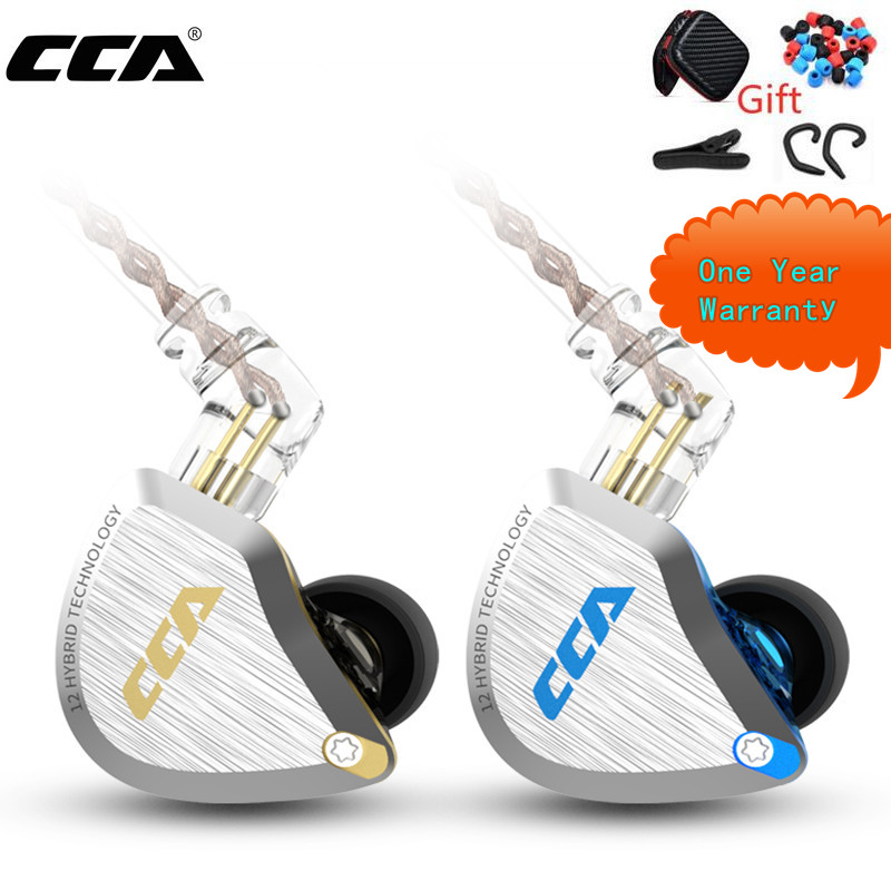 New CCA C12  Metal Headset 5BA 1DD Hybrid 12Units HIFI Bass Earbuds In Ear Monitor Headphones Noise Cancelling Earphones KZ E10