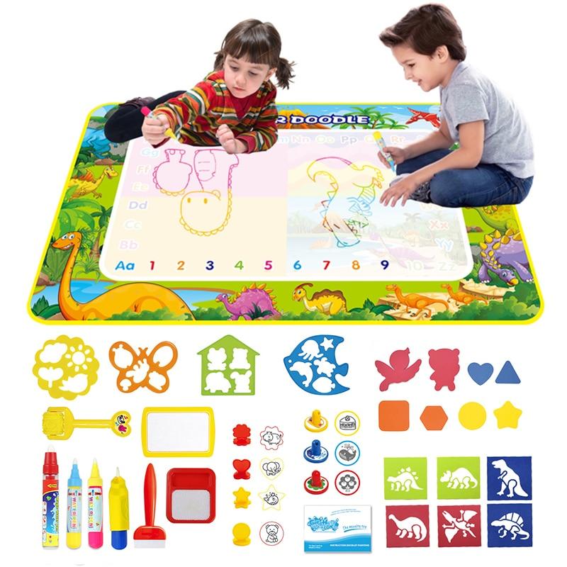 Детский коврик для рисования в стиле динозавра, водный коврик для рисования, развивающие игрушки, раскраски, волшебная доска для рисования, ...