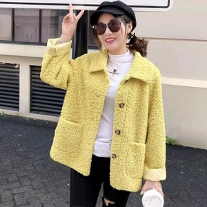 Женская куртка из искусственной овечьей шерсти Harajuku, зимняя свободная однобортная куртка с отворотом, однотонная розовая синяя теплая курт...