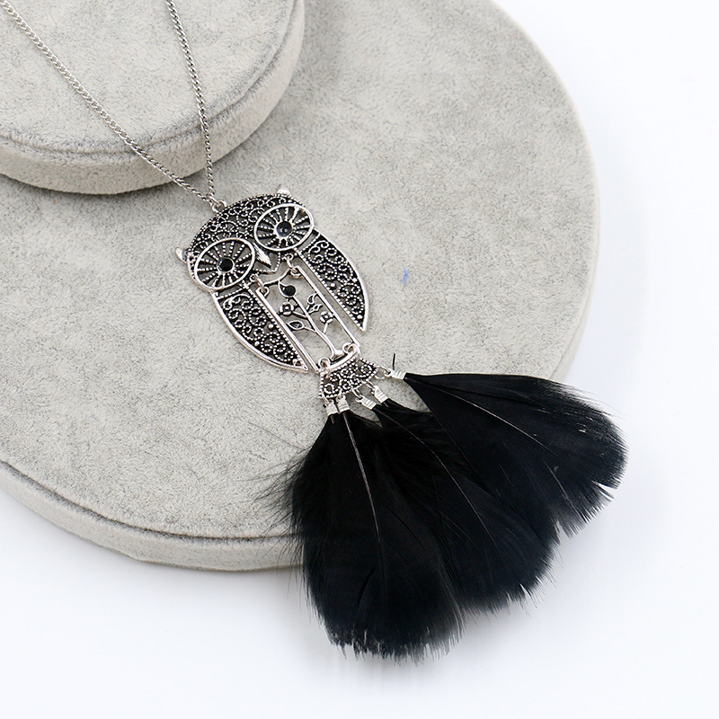 H0042237189b24159b9a689456d8169a2P - Women Bohemian Ethnic Long Chain Feather Pendant Dreamcatcher Necklace Choker Boho Clothing Jewelry Accessories