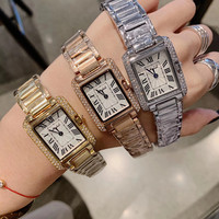 Crystals Quiet 2 Hands Analog Watches for Women Integrated Square Bracelet Watch Neutral Design Roman Number Wrist watch Quartz