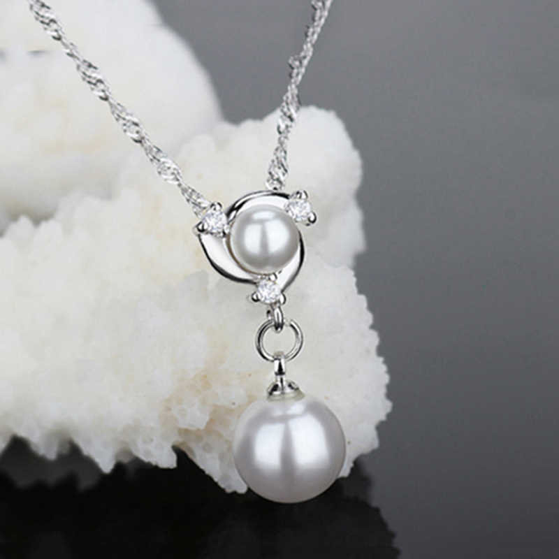 Elegant Fashion 925 Sterling Silver Chain Double Pearls Necklace Cubic Zirconia Crystal Necklaces for Women Girl Wedding Jewelry